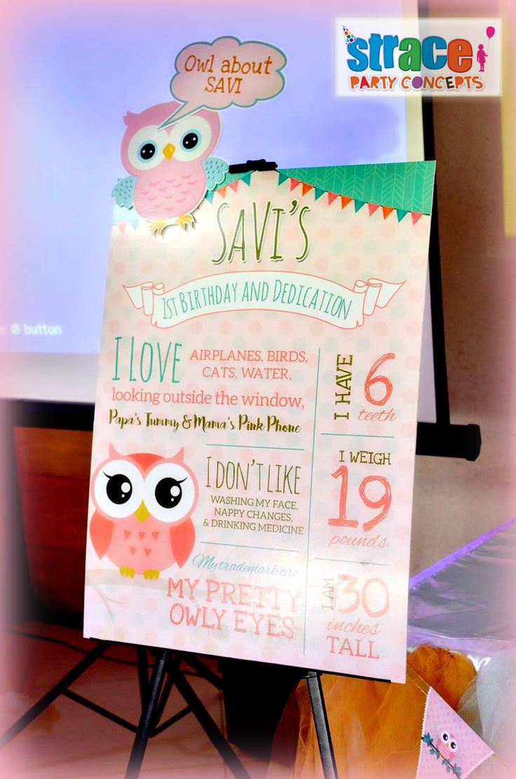 Owl Party Set-up by Strace Party Concepts: Factboard Standee in Easel Stand