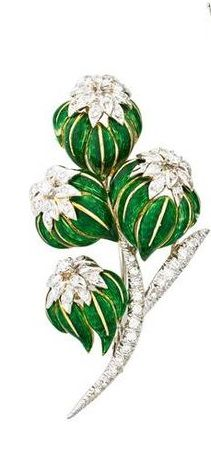 DIAMOND AND ENAMELED GOLD VEGETAL BROOCHES -Bicolor 18k gold floral cluster brooch, Carletto, Italy, RBC diamonds.