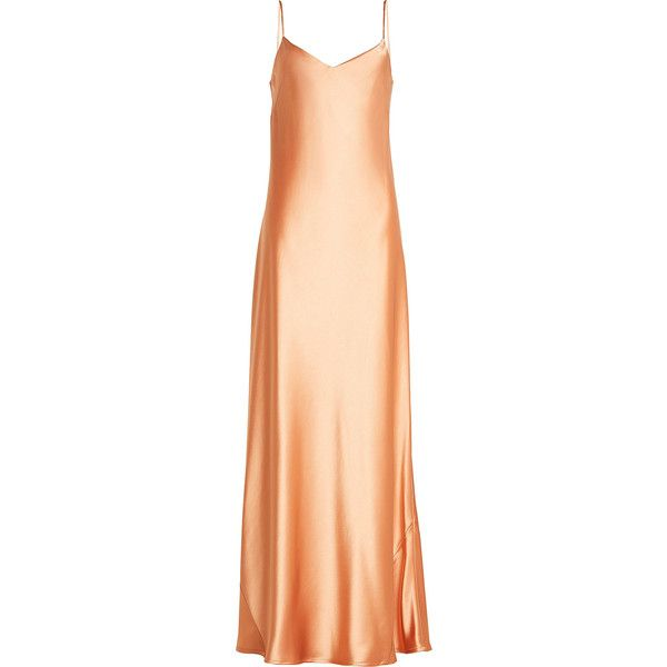 Galvan Satin Gown ($710) ❤ liked on Polyvore featuring dresses, gowns, orange, beige dress, orange evening dresses, orange evening gown, shiny satin dress and beige gown