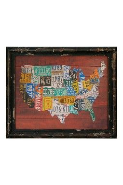 Multicolor USA Wood Framed Map