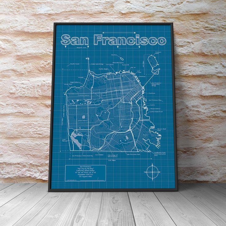 86 best city blueprints images on pinterest adventure awaits map san francisco city blueprint maphazardly malvernweather Choice Image