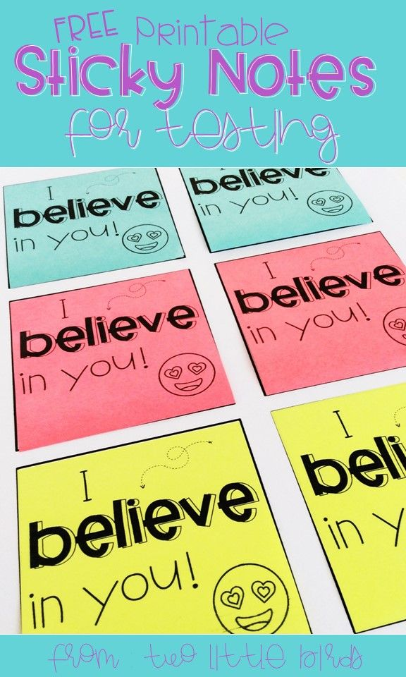Print encouraging notes for students and leave on their desks on testing days.  Grab these printable sticky notes for free!
