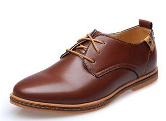 Men Casual artificial Leather Lace-up Black Brown Flat Loafers Oxford Shoes