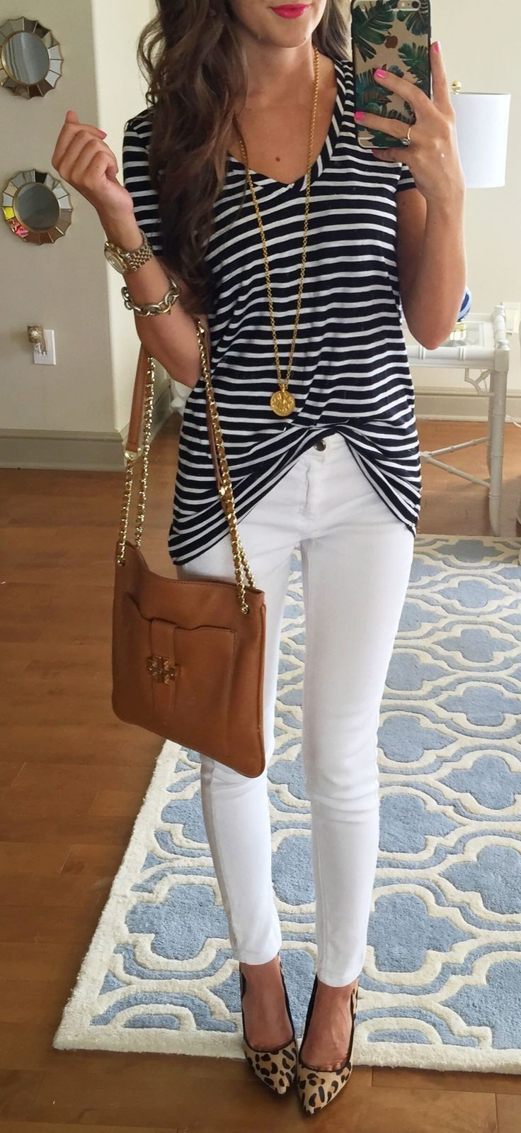 #spring #casual #outfits #inspiration |Striped tee + white denim