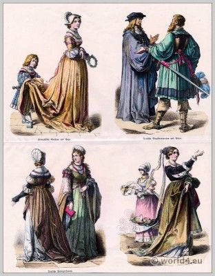 German and French Renaissance Fashion 1520.  First third of the XVI Century. Top row left to right: French noblewoman and Page. Right: German magistrate and knights. Bottom row left to right: German patrician women.