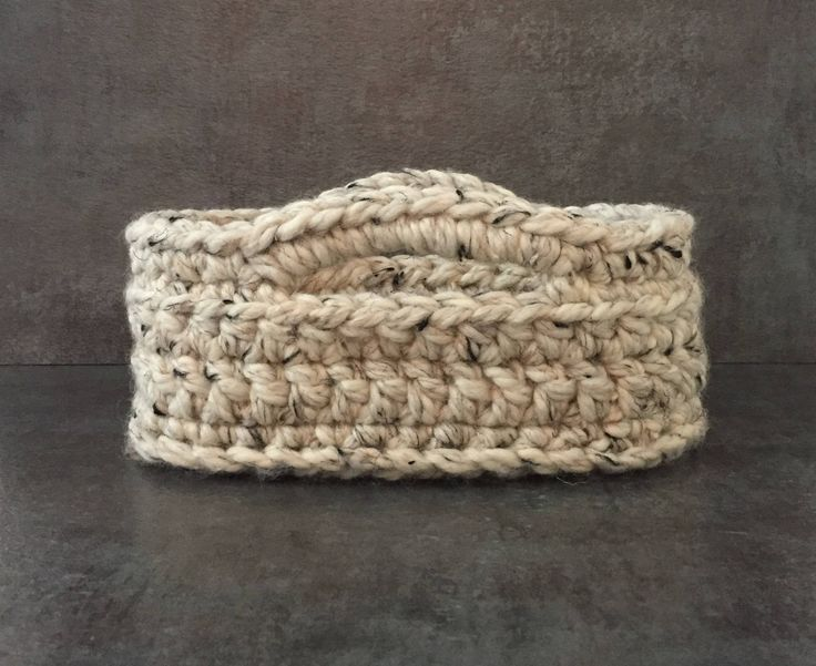 Small Oval Basket with Handles - Small Oval Basket - Oval Basket - Crochet Basket with Handles - Oval Basket with Handles - Storage Basket by BasBounty on Etsy