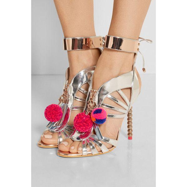 Sophia Webster Yasmina Pom Pom embellished mirrored-leather sandals ($1,055) ❤ liked on Polyvore featuring shoes, sandals, embellished shoes, caged high heel sandals, decorating shoes, bright colored shoes and pom pom sandals