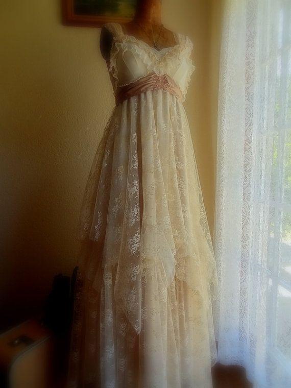 "MadeToOrder ..""Belle"" Rustic   Beach  Shabby French Champagne Tea Ivory Cream Vintage Inspired  Wedding Dress Altered Slip"