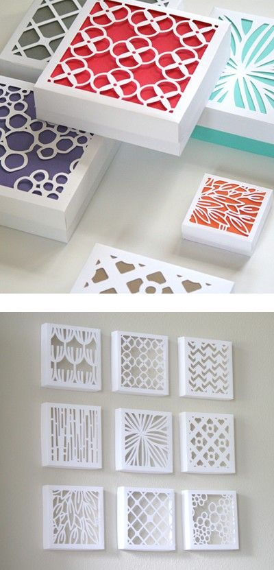 paper art, cut-out  (use cereal boxes, cut out design, paint them, put cardstock or scrapbook paper behind) Puede hacerse con tapas de cajas de zapatos