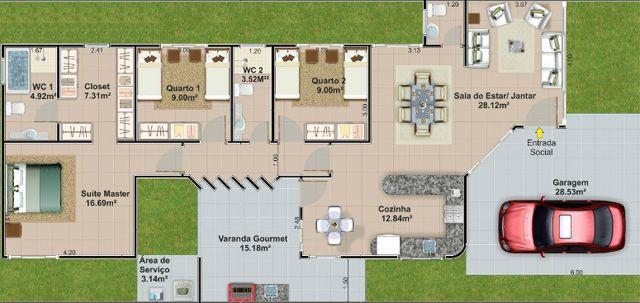 Planta de casa t rrea 150 m2 projetos pinterest 150 - Lavabos de esquina ...