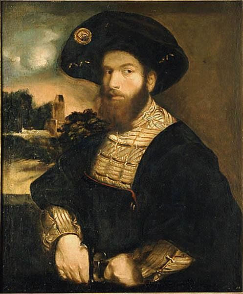 "Portrait of Cesare Borgia ""Le Duc Valentin"" kept at the Metropolitan Museum of Art in NYC, formerly thought to be after a painting by Correggio, now often attributed to Dosso Dossi, 1517-1519."
