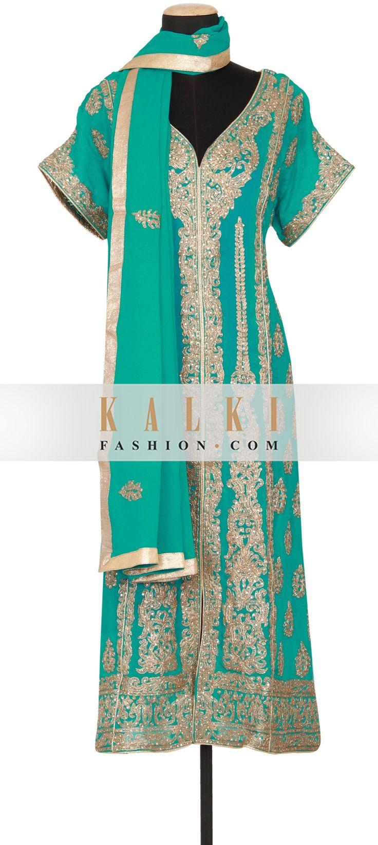 Get this beautiful Unstitched Salwar Kameez Collection http://www.kalkifashion.com/dynasty-green-georgette-semi-stitched-salwar-kameez-embellished-in-zari-and-kundan-only-on-kalki.html