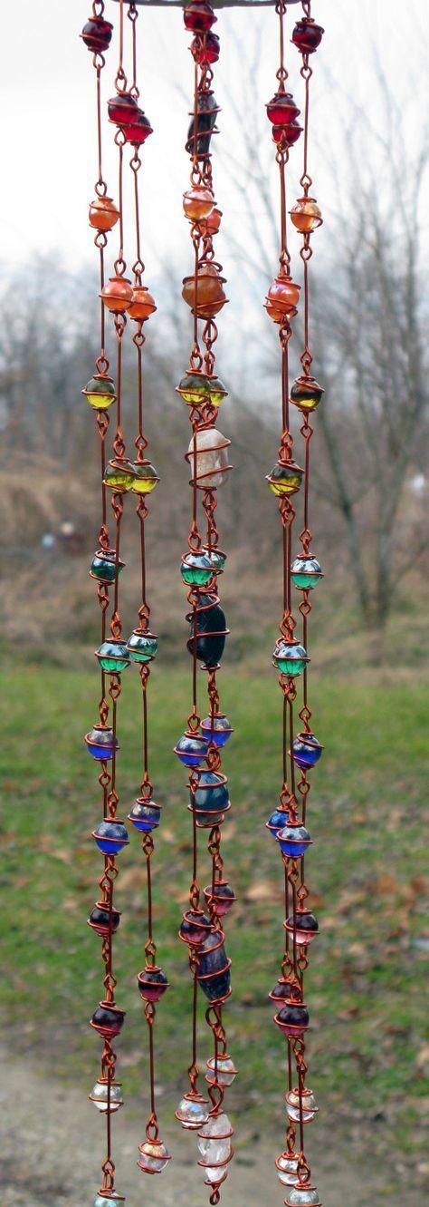 Rainbow Chakra Suncatcher with Copper Wire by tapestryarabianfarm