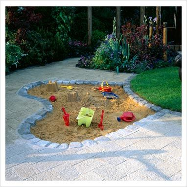 Sandpit sunken into stone patio. I would be slightly concerned about cats tho....