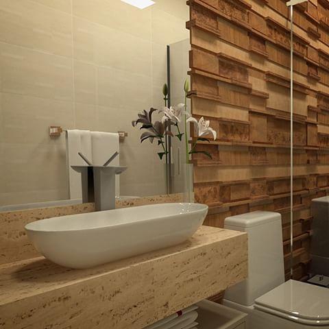 Um dos Projetos de uma semana de muitas criações! #DKARQUITETURA #project #projeto #arquitetura #lavabo #banheiro #travertinobrutoromano #deca #mosarte #revestimentos #espelho #louças #projectoftheday