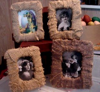 Burlap Picture Frames...you can embellish them with buttons, flowers etc..