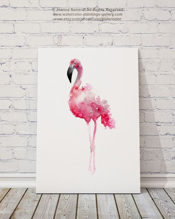 Flamingo Art Print Pink Wall Decor Bird от ColorWatercolor на Etsy