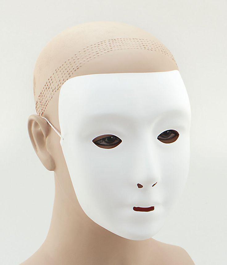 Plain White Face Masquerade Mask