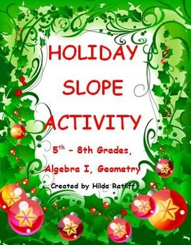 FREE!!  This activity involves finding the slope of line segments from a drawing of a Christmas tree. For younger students, a list of ordered pairs is given for the students to graph, connect the points, and draw a picture of a Christmas tree.