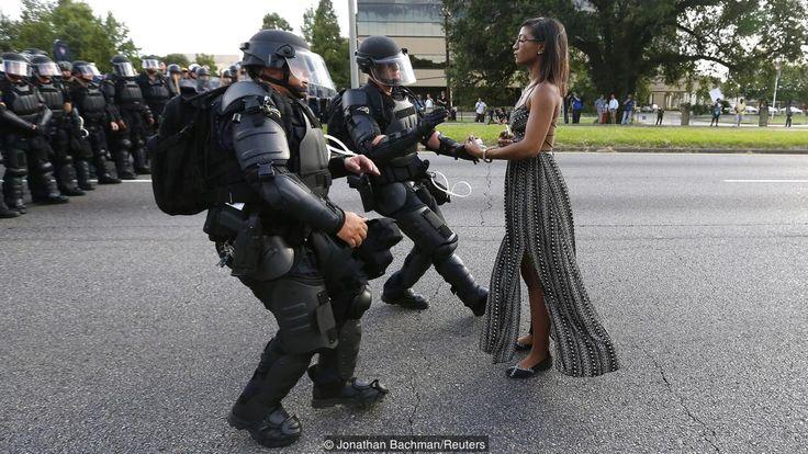 Leisha Evans protests the fatal police shooting of Alton Sterling.  (Credit: Jonathan Bachman/Reuters)
