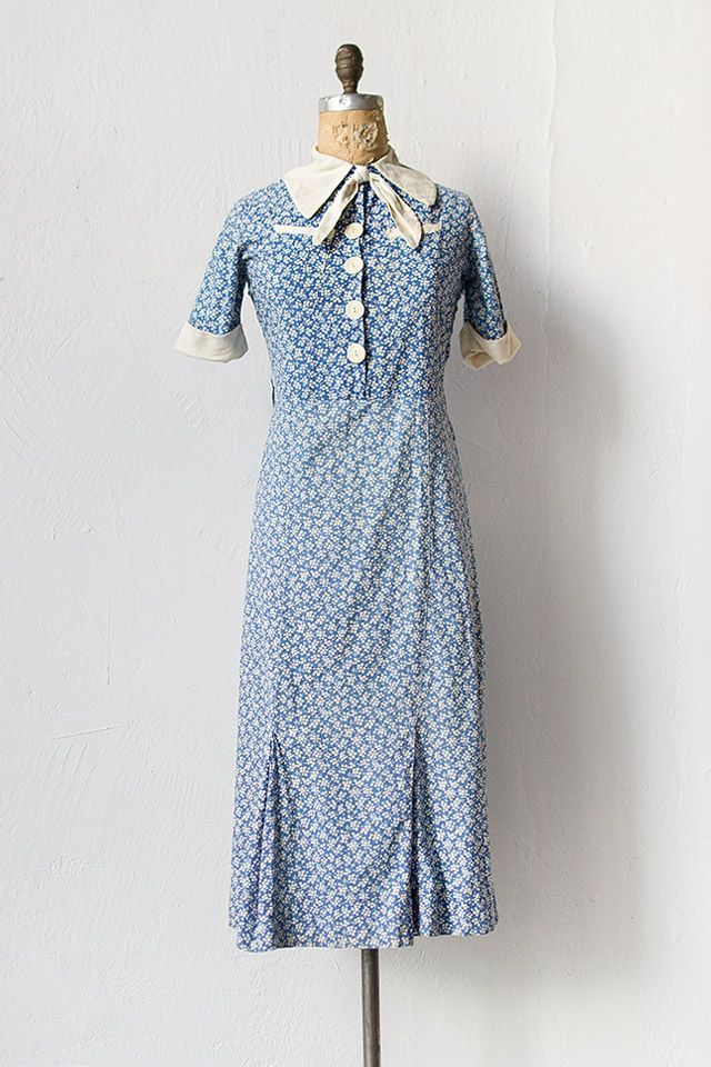 vintage 1930s blue white cotton day dress | Cardiff By the Sea Dress