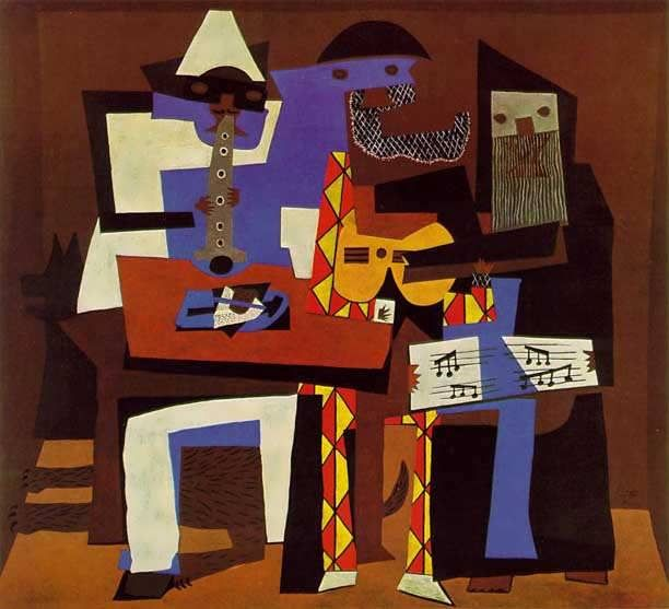 20. Three Musicians, 1921 By: Pablo Picasso At first glance it might look like a collage but Pablo Picasso's famous painting, Three Musicians is actually an oil painting. Also, he painted two very similar paintings that are mutually referred to as Three Musicians and can be found in the New York MoMA and the Philadelphia Museum of Art. (20th Century Paintings)