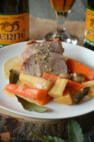 Rôti de veau, carottes et panais au cidre