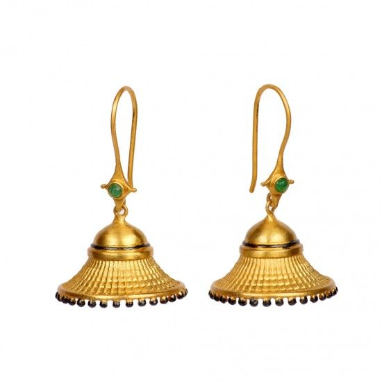 Flawlessly handcrafted in sterling silver, this beautiful gold plated pair of jhumkis is an instant eye catcher with its unique design. The textured, flared parasol is exquisitely bordered with tiny enamelled beads that provide a lovely contrast. The high polished dome is the perfect setting for the emerald cob that further enlivens this pair.