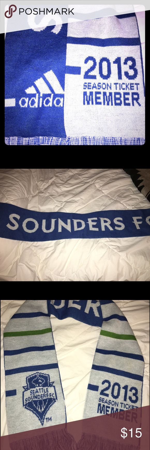 Seattle Sounders 2013 Season ticket holder scarf. Great for cool to cold evenings and/or days. Unisex. Standard size. Accessories