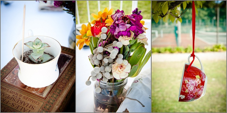 Succulents in teacups, wildflowers in mason jars and hanging teacups as decor :)