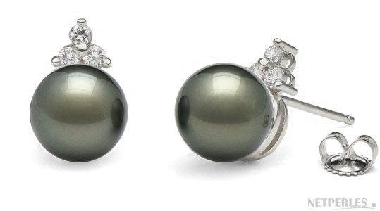 Boucles d'oreilles en Or et Diamants avec Perles de Tahiti