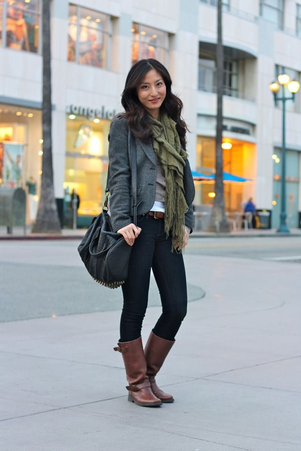 H Wool Jacket & Steve Madden riding boots-Stay cozy for a chilly evening
