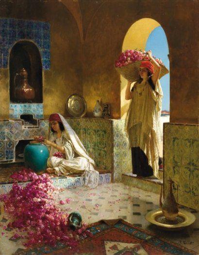 Rudolf ERNST (1854-1932) La Cueillette des roses Huile sur panneau, signée