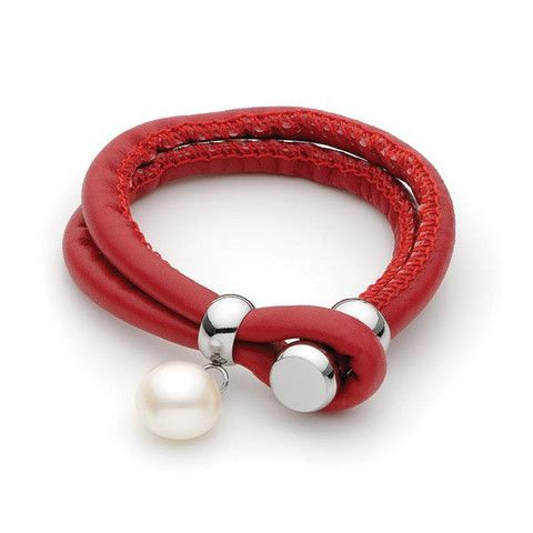 White Freshwater Pearl red leather Bracelet stainless steel clasp