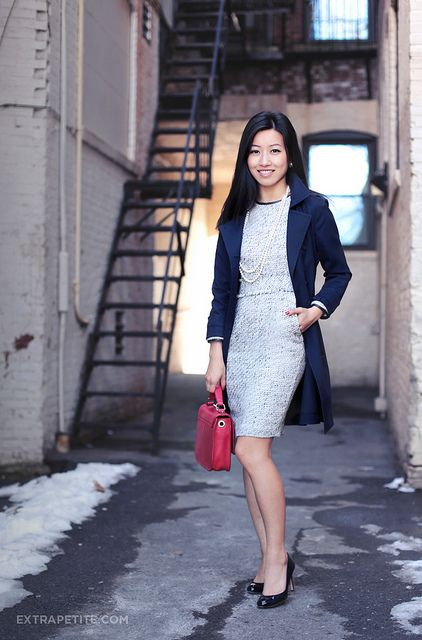 light gray & navy blue. Perfect winter outfit for work!