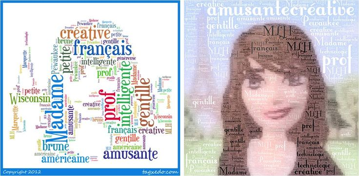 Students create word clouds of themselves using an image, adjectives, and other descriptive words.  Left image created using www.tagxedo.com; right image created using Wordfoto app for iPod, iPhone, iPad.  Image was created using meez.com (avatar creator).