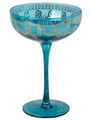 LEELA champagne dark turquoise | Drinkware | null | Glass and Porcelain | Interior | INDISKA Shop Online