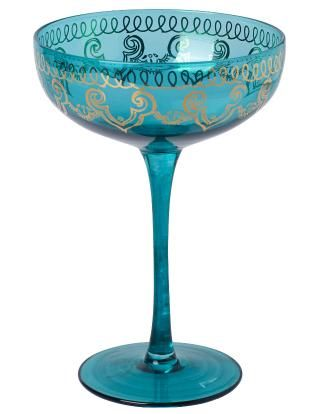 LEELA champagne dark turquoise | Drinkware | null | Glass and Porcelain | Interior | INDISKA Shop Online