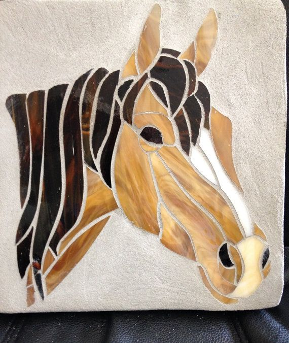 Horse stained glass mosaic stepping stone by StepsInStone on Etsy