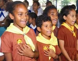fiji brownie guides  singing at a mass enrollment of new Brownies and Guides