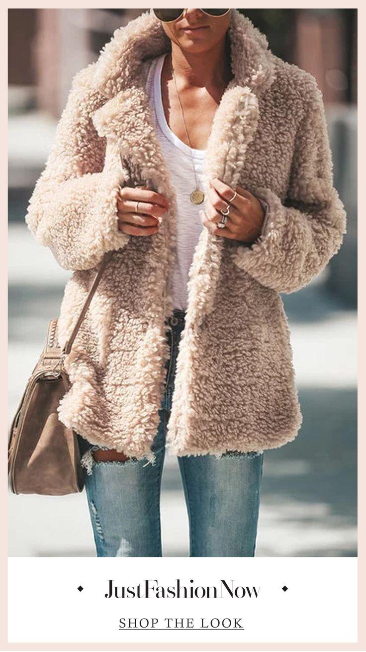 Fleece Cozy Long Sleeve Vintage Shawl Collar Cashmere Teddy Bear Coats #winter c... 5