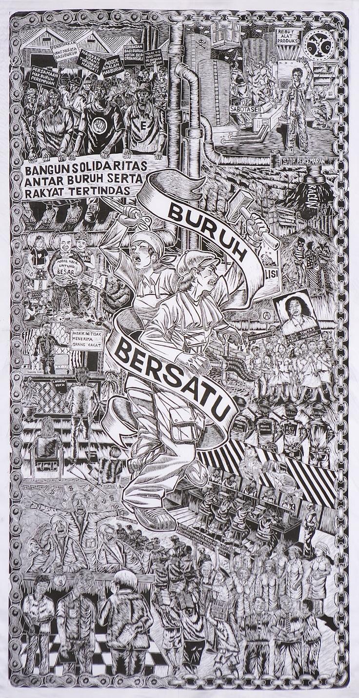 Print by Taring Padi. Buruh bersatu (The workers unite) 2003.