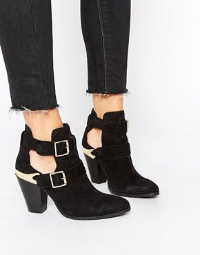 ASOS REALITY CHECK Suede Western Ankle Boots · Black ...