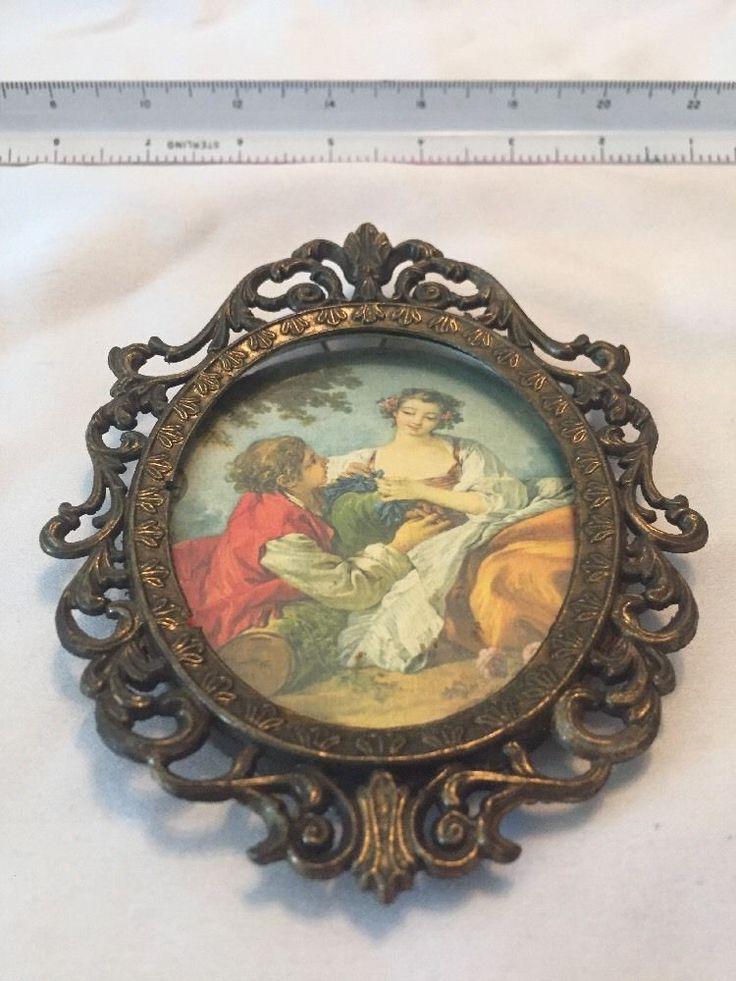 Vintage Brass Oval Frame Made In Italy Brass Ornate Design