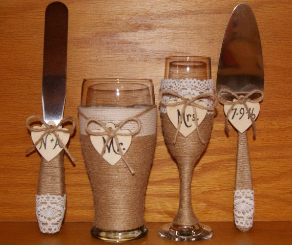 Rustic Wedding Champagne Flute and Beer by CarolesWeddingWhimsy, This Rustic…
