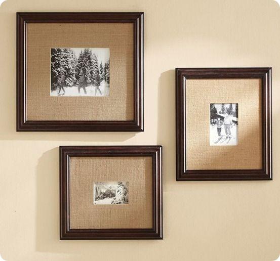 multi-mat frames.  Burlap covers mat, gloss frame, B & W photos