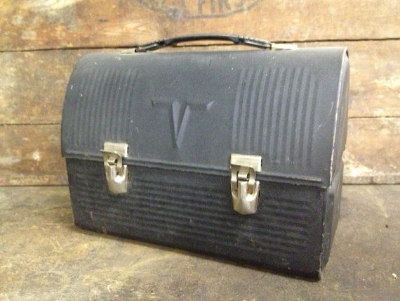 Old Black Metal Industrial Lunch Box on Etsy, $10.00 yellowdoorgoods