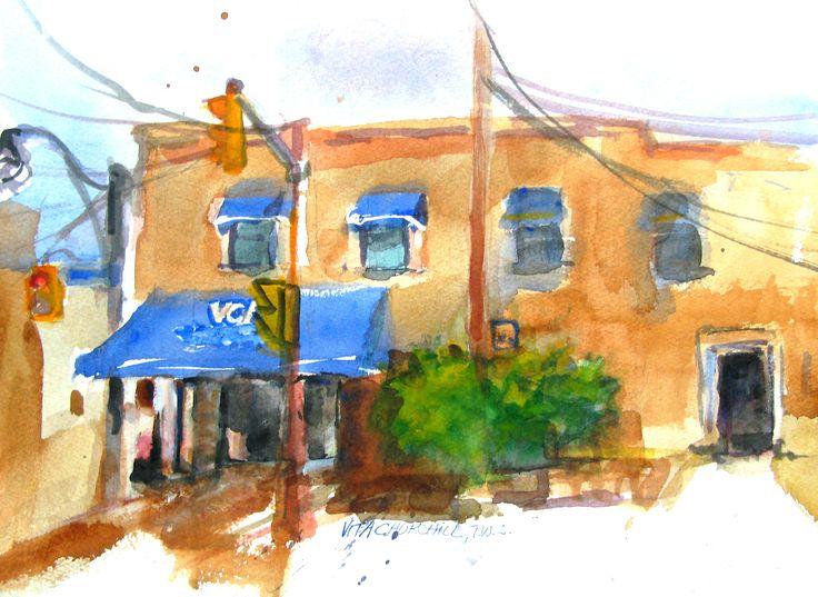 Watercolor, painted en plein air.  Corner of Yonge St. and Woodlawn Ave. Toronto, Ontario