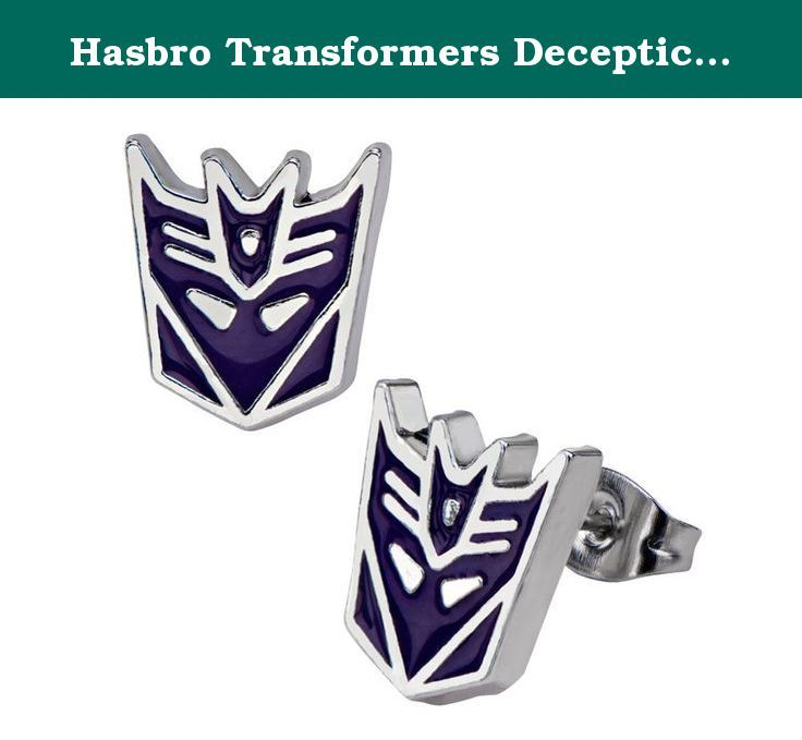 Hasbro Transformers Decepticons Logo Stud Earrings. Transformers! More than meets the Eye! Autobots vs Decepticons. Since the 1980's, every kid grew up knowing these two names and thier respective symbols. Remember these those times with this custom jewelry so you can choose sides!.