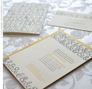 Grey and Yellow wedding invitationsYellow Weddings, Ampersand Wedding Invitations, Paper, Ampersand Repeat, Invitations Ideas, Gray Invitations, Yellow Invitations, Ampersand Invitations, Weddinginvitations